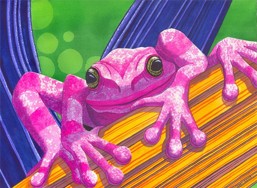 Frog Painting - Pink Frog by Catherine G McElroy