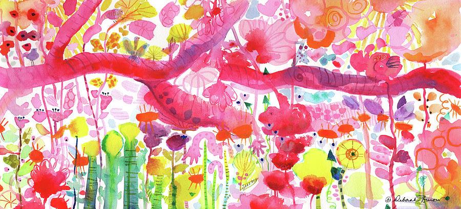 Pink Garden Tree Creatures by DEBORAH BUROW