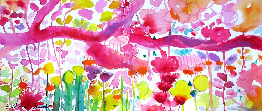 Pink Flowers Painting - Pink Garden Tree by Deborah Burow