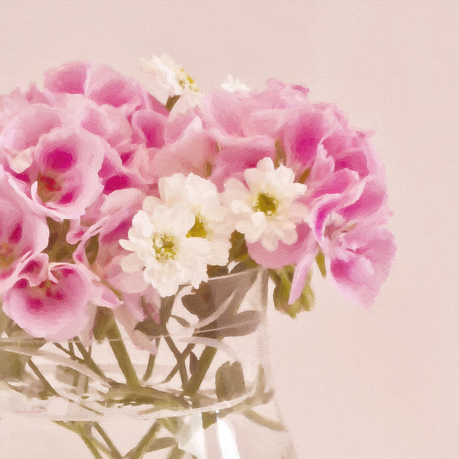 Floral Still Life Photograph - Pink Geraniums by Sandra Foster