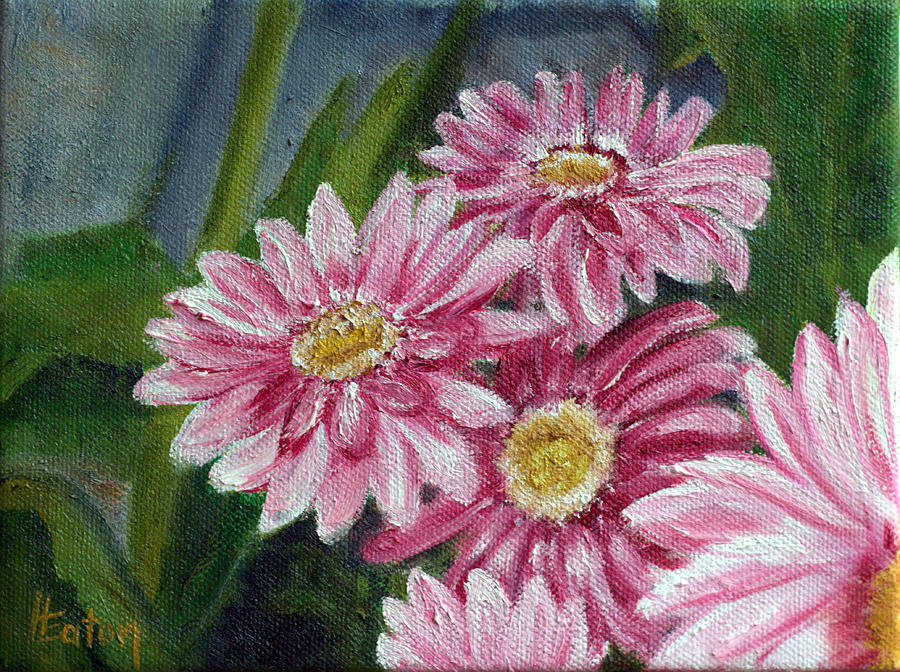 Daisy Painting - Pink Gerbera Daisies by Helen Eaton