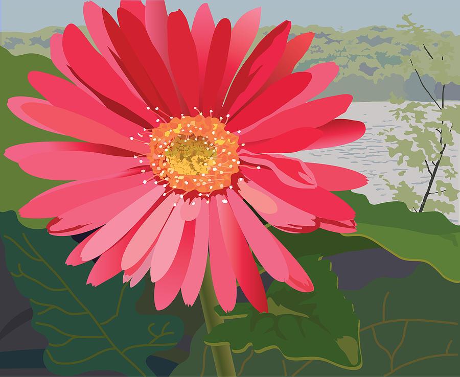 Pink Painting - Pink Gerbera Daisy by Marian Federspiel