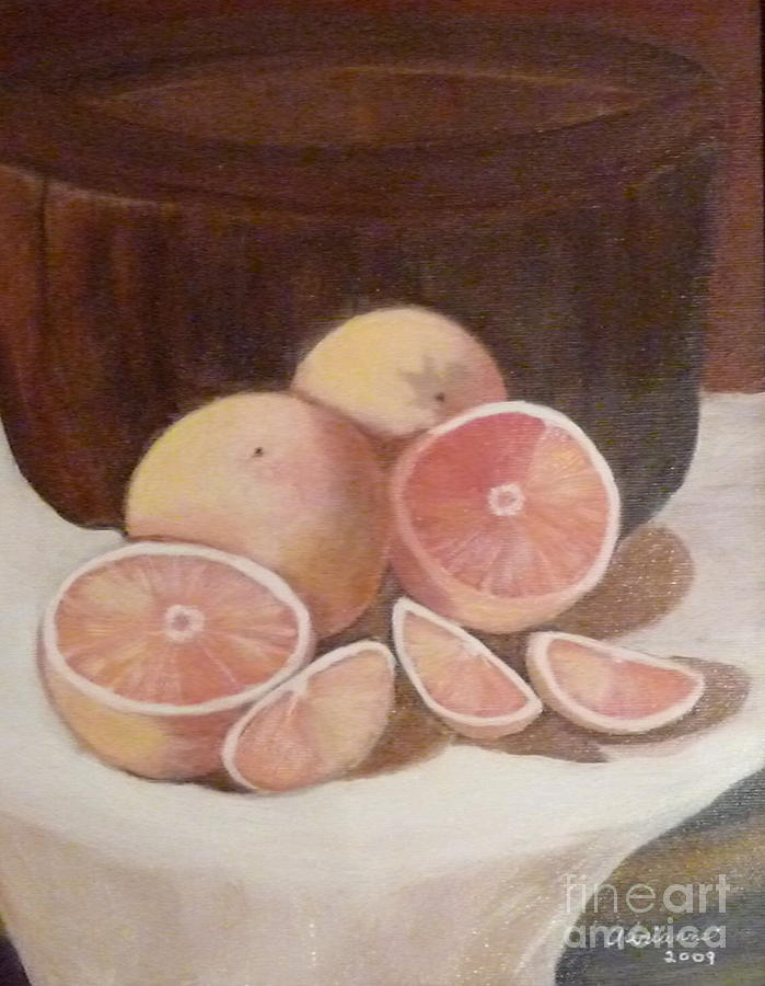 Still Life Painting - Pink Grapefruit by Adrianne  Wagers