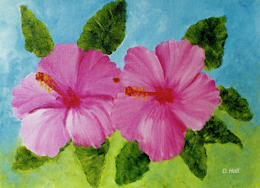 Hibiscus Painting - Pink Hawaiian Hibiscus Flower #23 by Donald k Hall