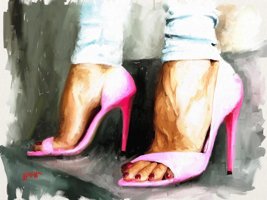 Feet Painting - Pink Heels by Dillan Weems