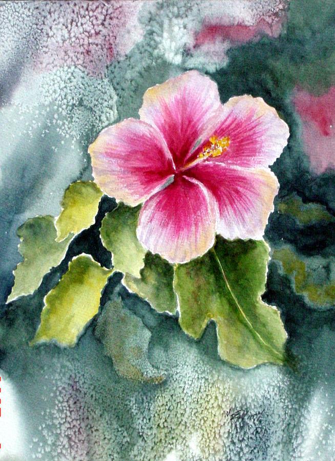 Hibiscus Painting - Pink Hibiscus by Marsha Elliott
