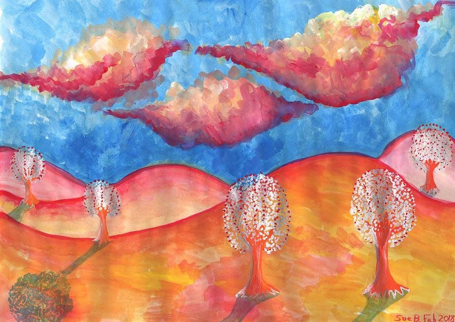 Dream Painting - Pink Hills Dream by Sushila Burgess
