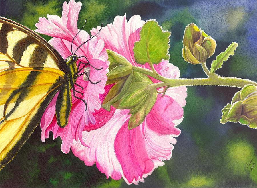 Hollyhock Painting - Pink Hollyhock by Catherine G McElroy