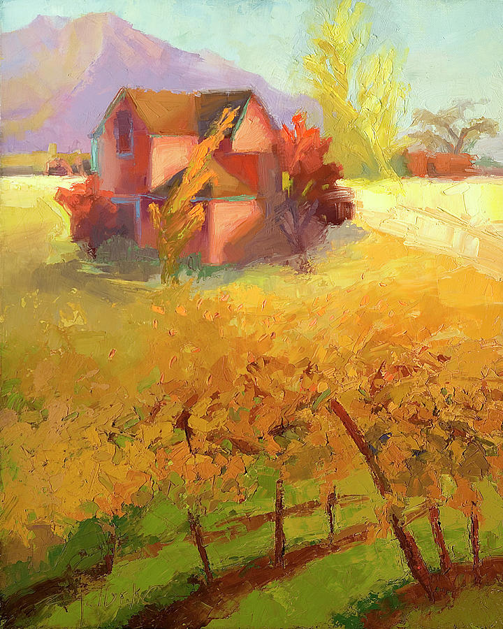 Landscape Painting - Pink House Yellow by Cathy Locke