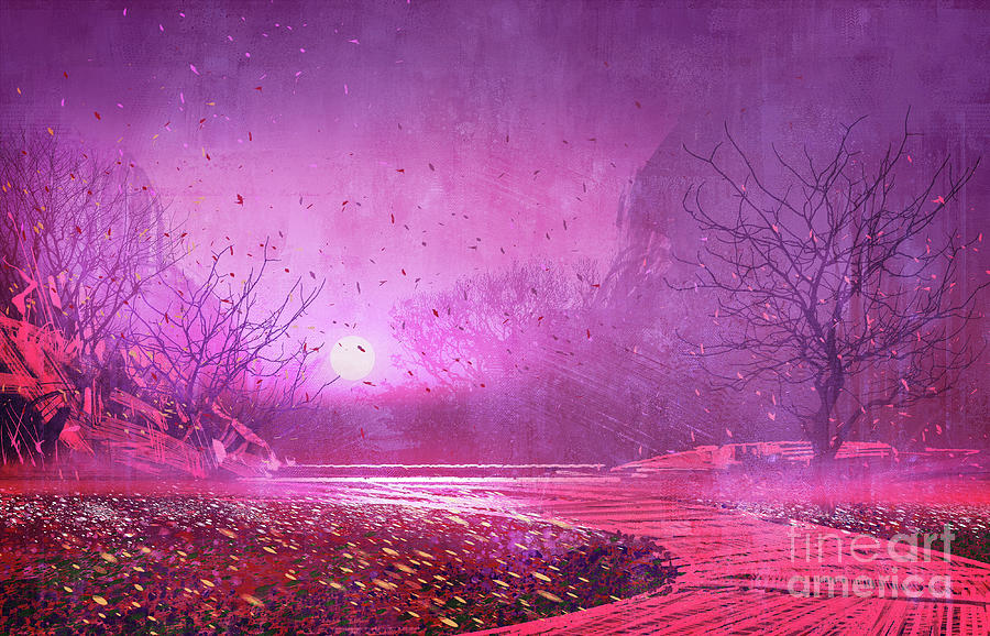Pink Landscape Painting