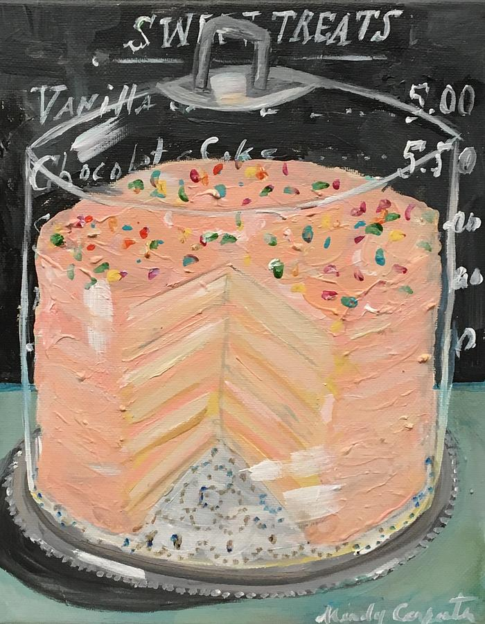 Fancy Cake Painting - Pink Layer Cake by Mindy Carpenter