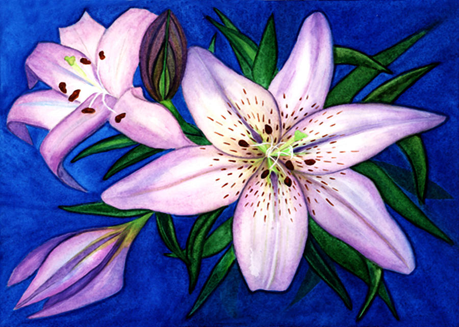 Lilies Painting - Pink Lilies by Stephanie  Jolley