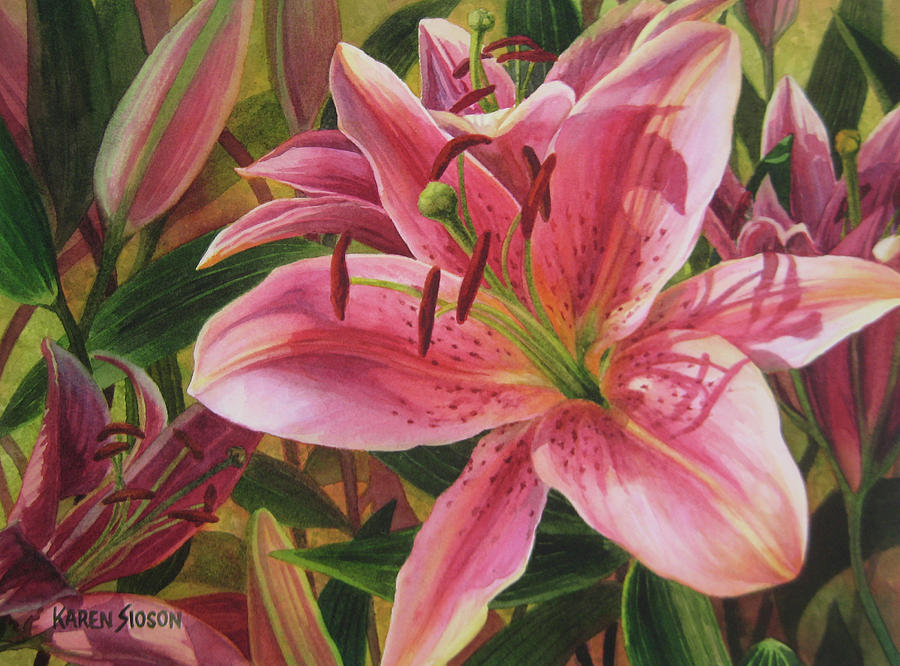Watercolor Florals Painting - Pink Liliums by Karen  Sioson