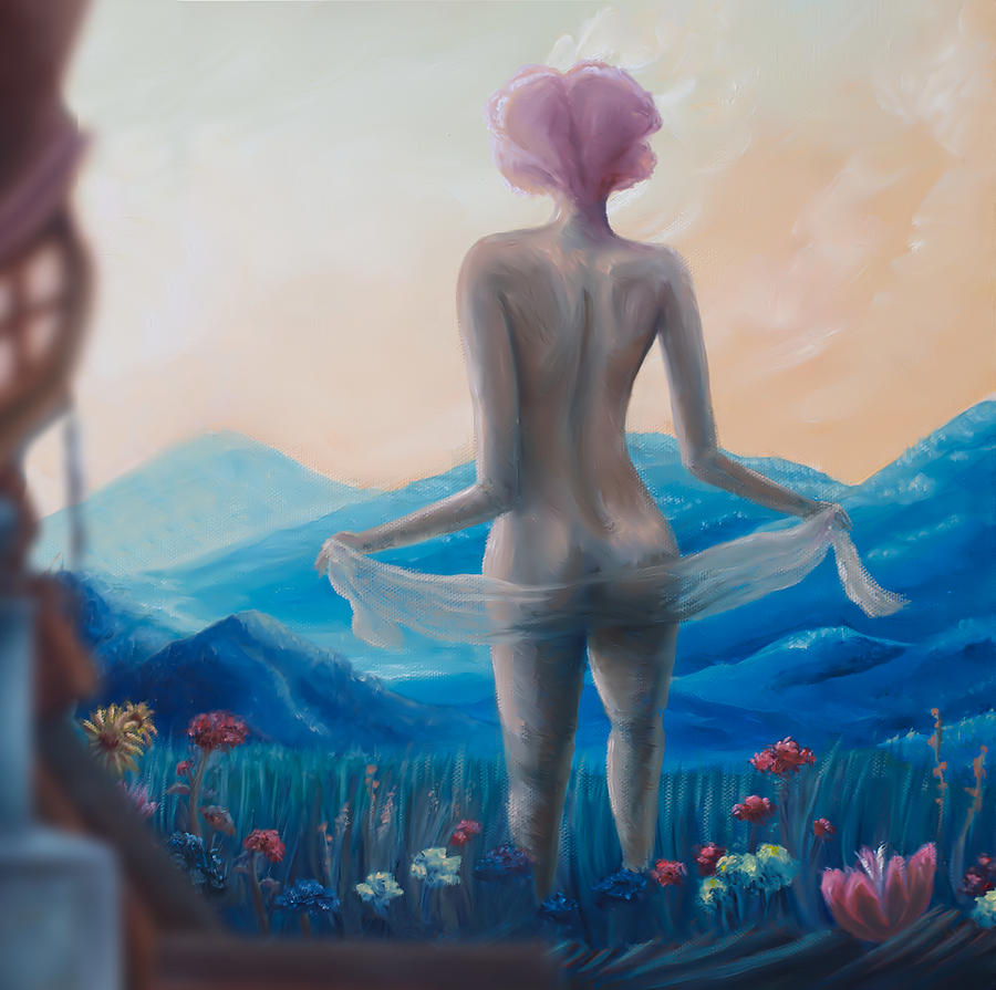Surreal Painting - Pink Lily by Brian Nunes