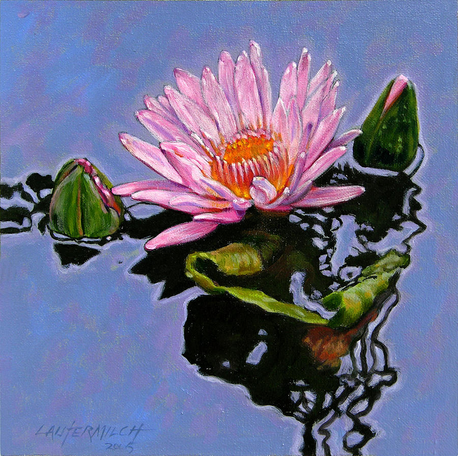 Water Lily Painting - Pink Lily with Dancing Reflections by John Lautermilch