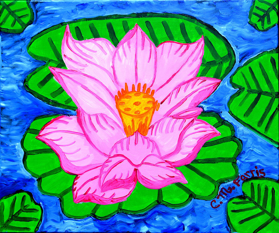 Pink Lotus Flower Painting - Pink Lotus Flower by Christopher Farris