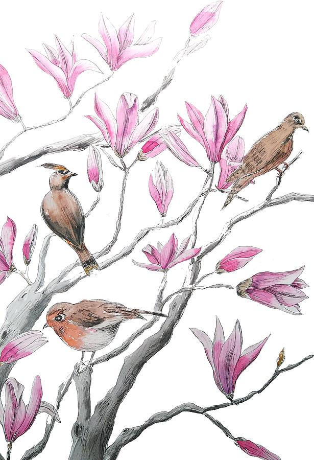 Pink Magnolia Flower And Birds