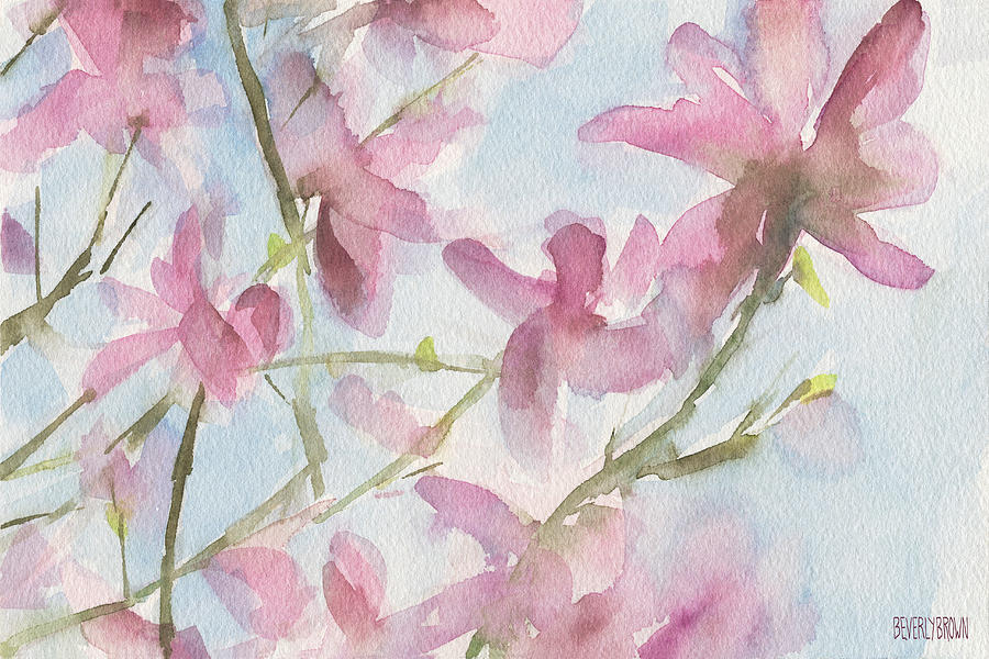 Floral Painting - Pink Magnolias Blue Sky by Beverly Brown