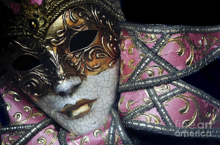 Black Photograph - Pink Mask by Oscar Gutierrez