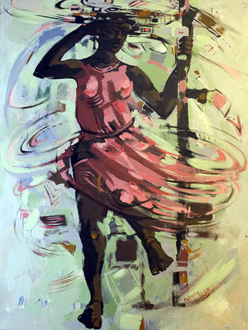 Pink Painting - Pink  by Mekbib Geberstadik
