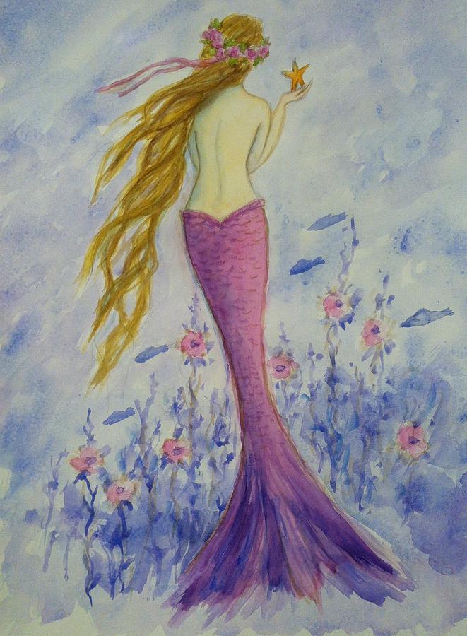 Mermaid Painting - Pink Mermaid In Her Garden by Tina Obrien