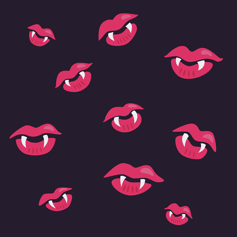 Vampire Digital Art - Pink Mouths With Vampire Teeth by Boriana Giormova