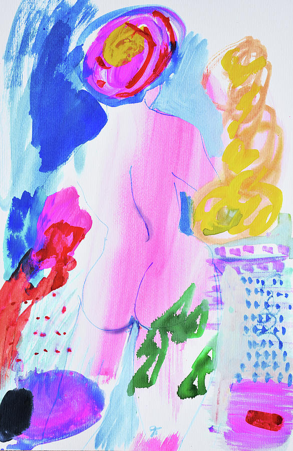 Painting Painting - Pink Nude With Headwrap by Amara Dacer
