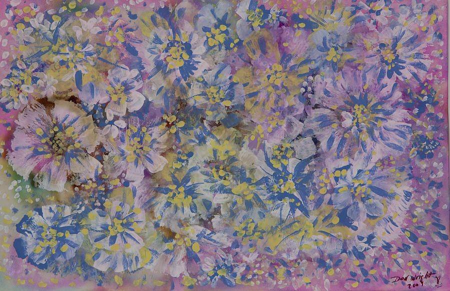 Opalescent Medium On Archival Paper Painting - Pink On Blue by Don  Wright