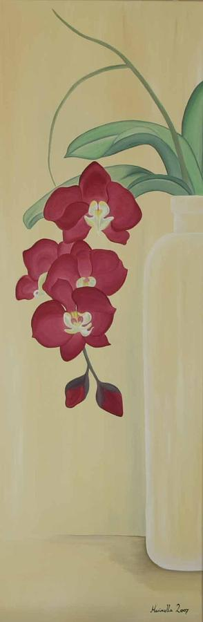 Flower Painting - Pink Orchide in a vase by Marinella Owens