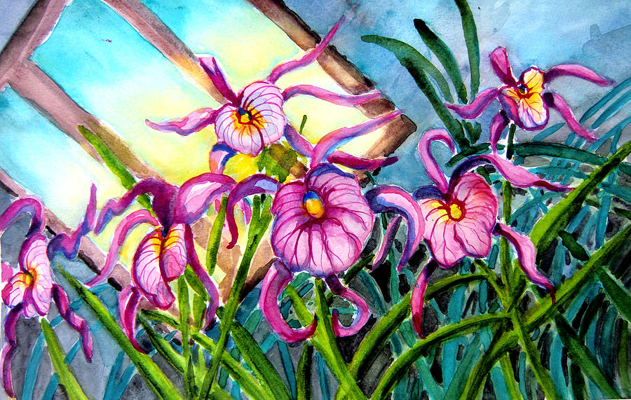 Frog Painting - Pink Orchids Under Skylight by Helen Kern