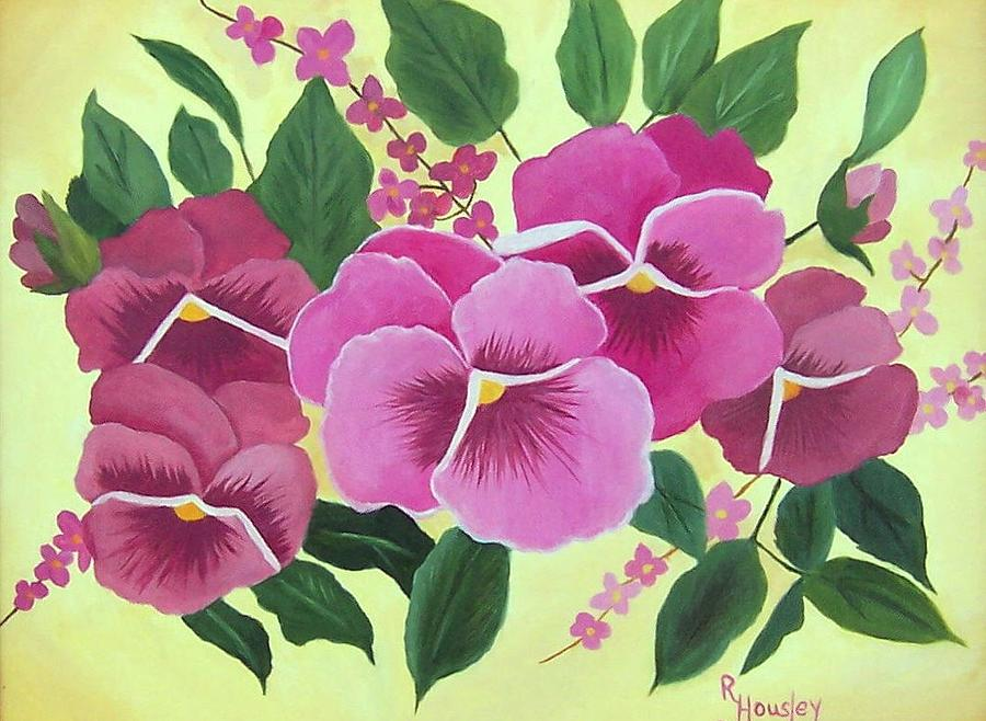 Floral Painting - Pink Pansies Sold by Ruth  Housley