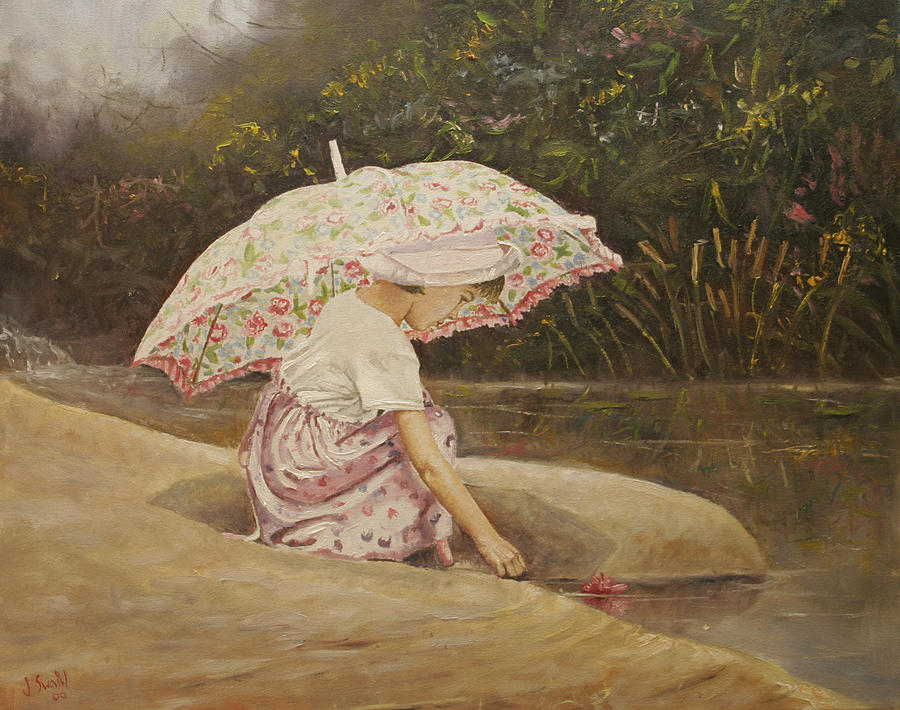 Pink Parasol Painting By Jason Swain