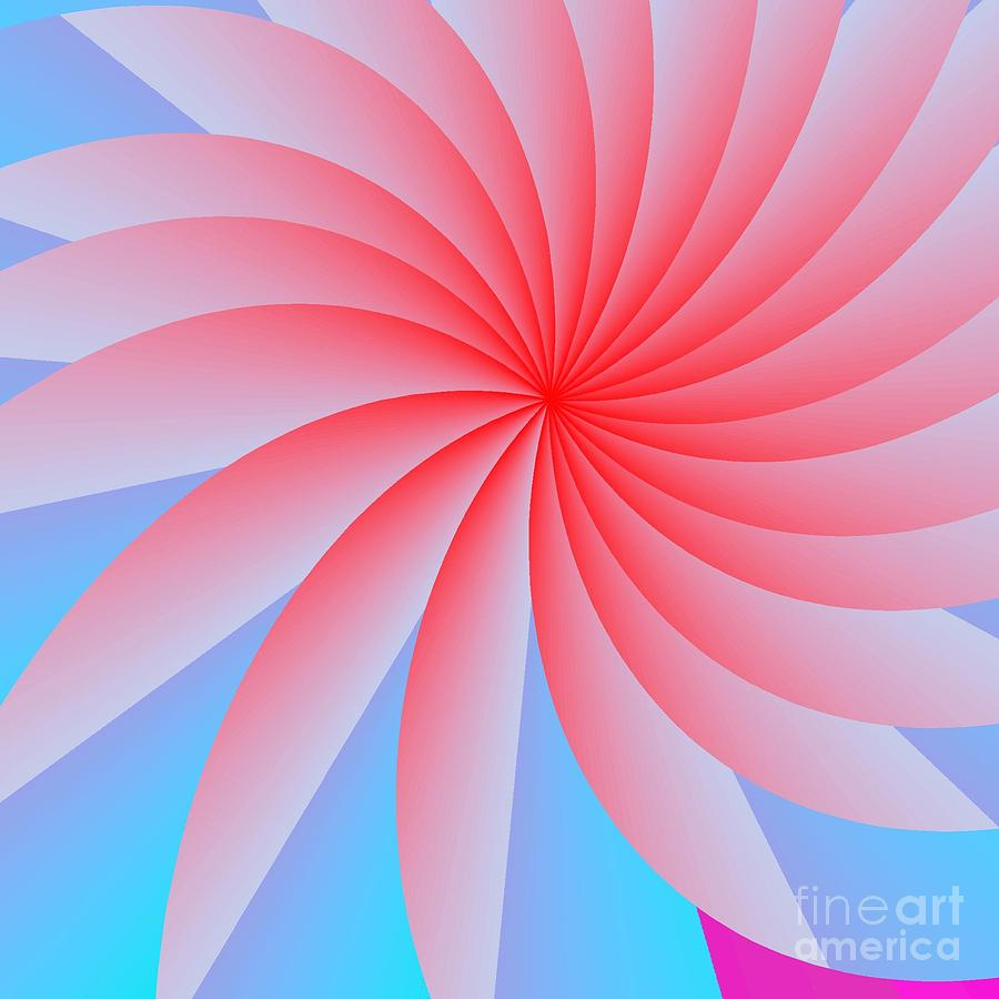 Abstract Digital Art - Pink Passion Flower by Michael Skinner