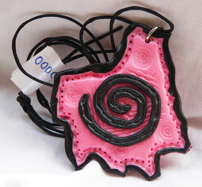 Pink Jewelry - Pink Pendant With A Black Spiral by Chara Giakoumaki