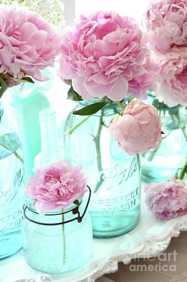 Pink peonies in blue aqua mason ball jars romantic shabby chic pink peonies photograph pink peonies in blue aqua mason ball jars romantic shabby chic mightylinksfo