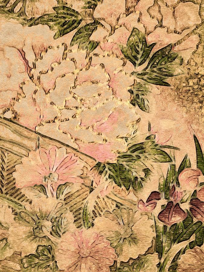 Pink Peonies Digital Art - Pink Peonies - Kimono Series by Susan Maxwell Schmidt