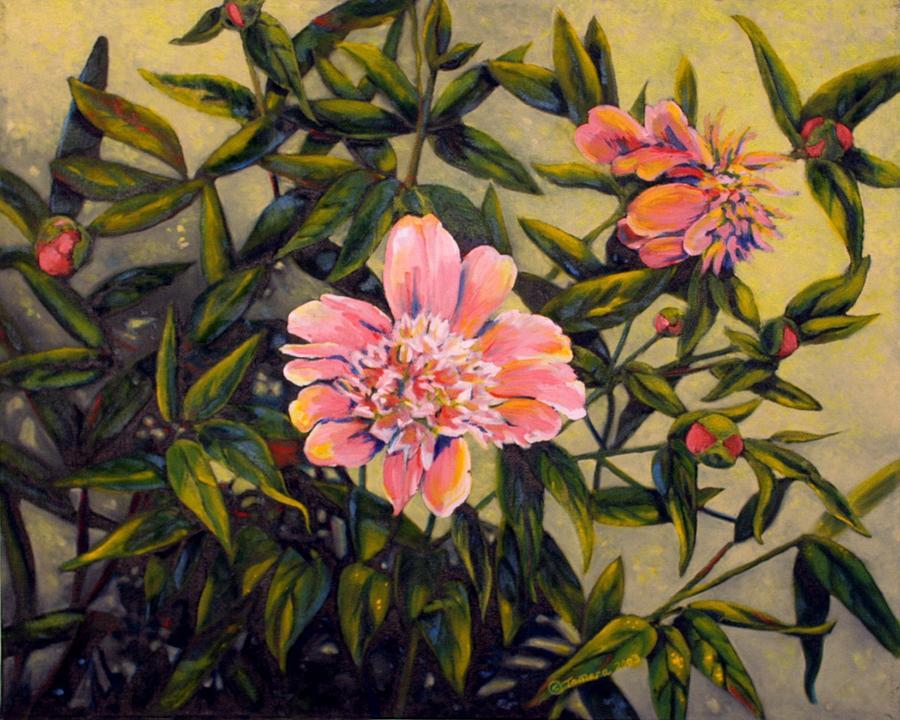 Pink Peonies Painting - Pink Peonies by Tamara Kulish