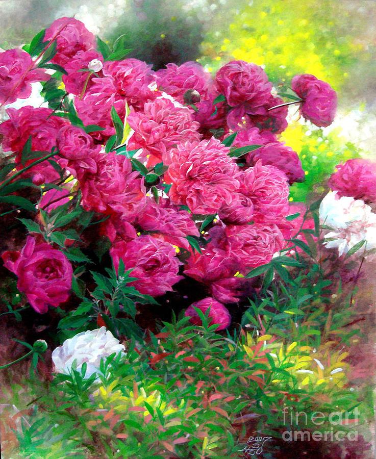 Flower Painting - Pink Peony by Bo Li