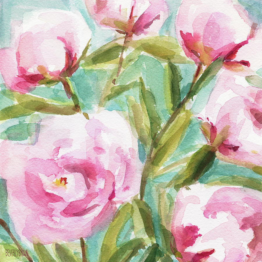 2da6881d088 Floral Painting - Pink Peony Branches by Beverly Brown