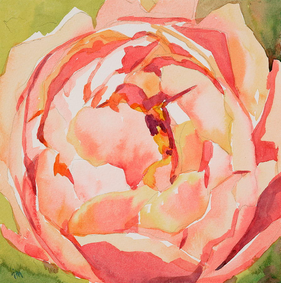 Pink And Green Painting - Pink Peony Glow  by Jo  Mackenzie