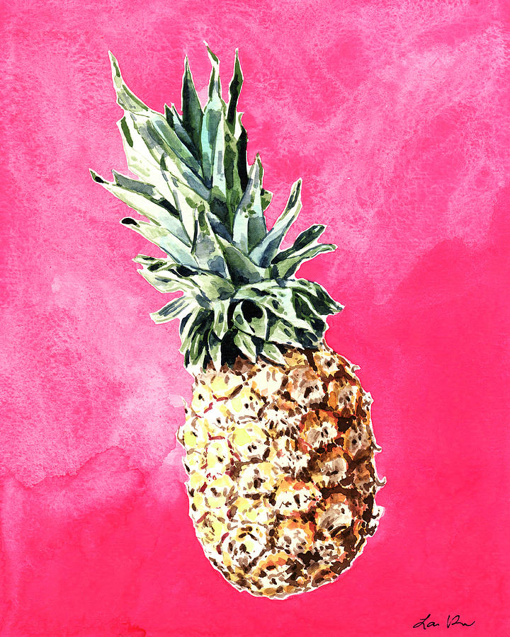 pineapple painting. Pink Pineapple Painting - Bright Fruit Still Life Healthy Living Yoga Inspiration Tropical Island