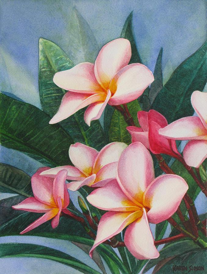 Floral Painting - Pink Plumerias by Karen  Sioson