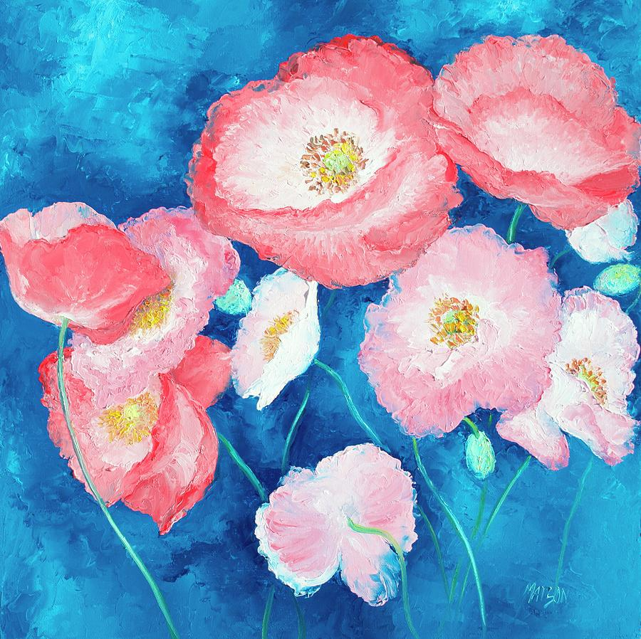Poppies Painting - Pink Poppies on dark blue backgound by Jan Matson