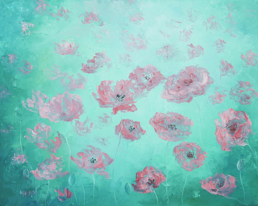 Poppies Painting - Pink Poppies on soft green background by Jan Matson