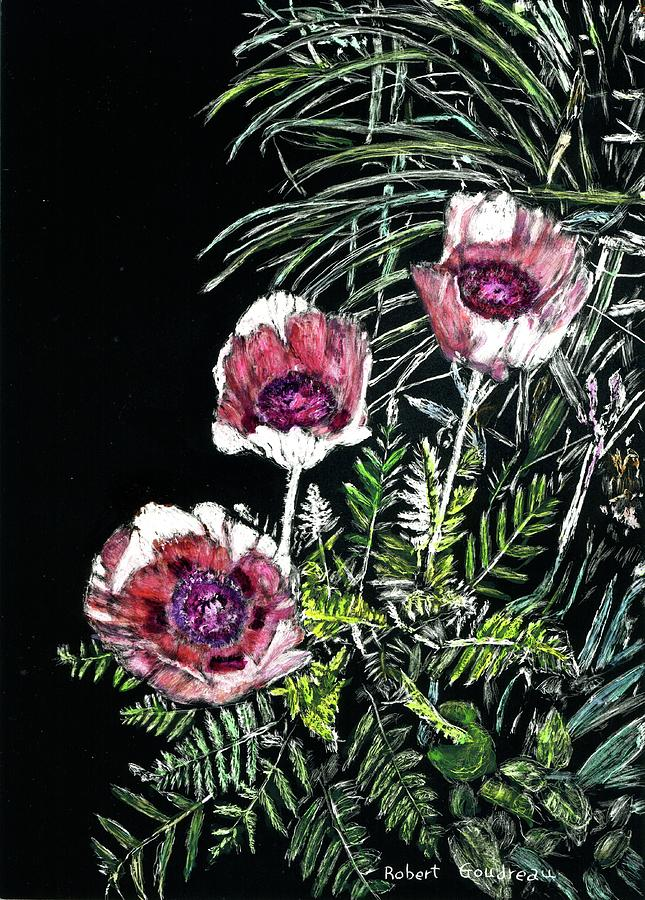 Greenery Painting - Pink Poppies by Robert Goudreau