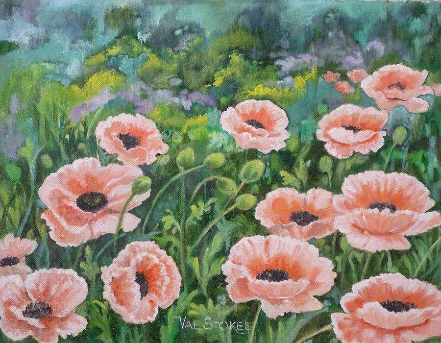 Flowers Painting - Pink Poppies by Val Stokes