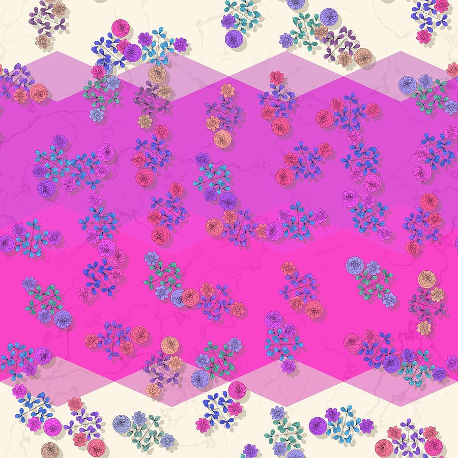 Pink purple blue flowers on geometric background by Lenka Rottova