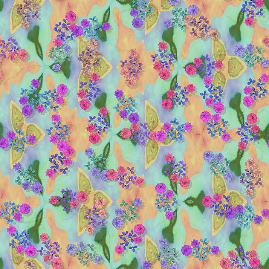 Pink purple blue flowers on stained orange green background by Lenka Rottova
