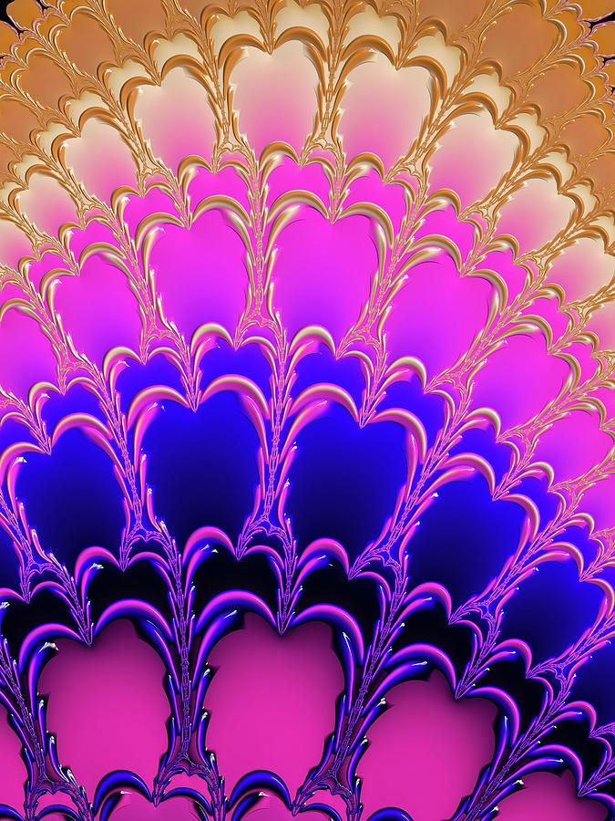 Pink Purple Blue Gold Fractal Ornament Photograph