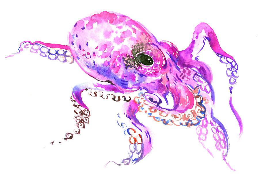 Pink Purple Octopus Painting By Suren Nersisyan